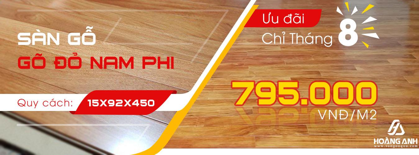 Khuyến mãi sàn gỗ Gõ Đỏ Nam Phi Solid - 795.000 [ 08/2019 ]
